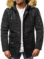 Парка мужская Stars черная зимняя / Куртка удлиненная / Теплая курточка