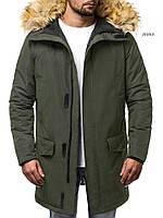 Парку чоловіча KURRON хакі зимова. Куртка подовжена тепла зелена