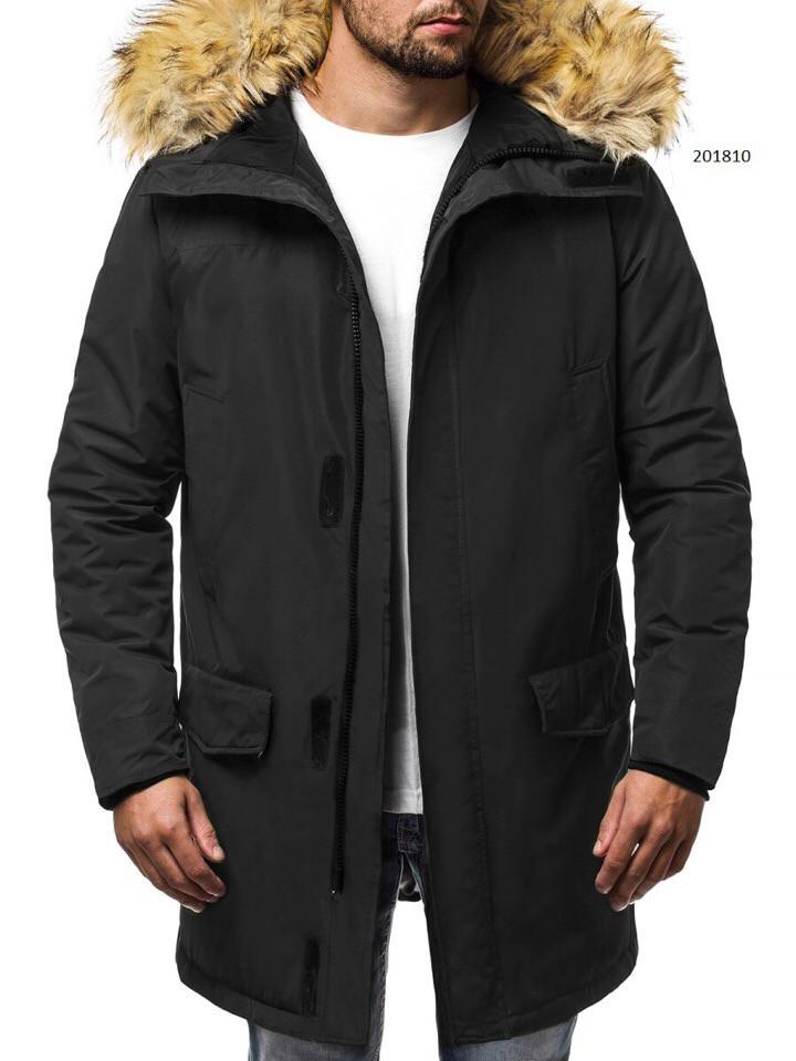 Парка мужская KURRON черная зимняя. Куртка удлиненная теплая