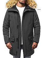 Парку чоловіча KURRON зимова чорна. Куртка подовжена тепла