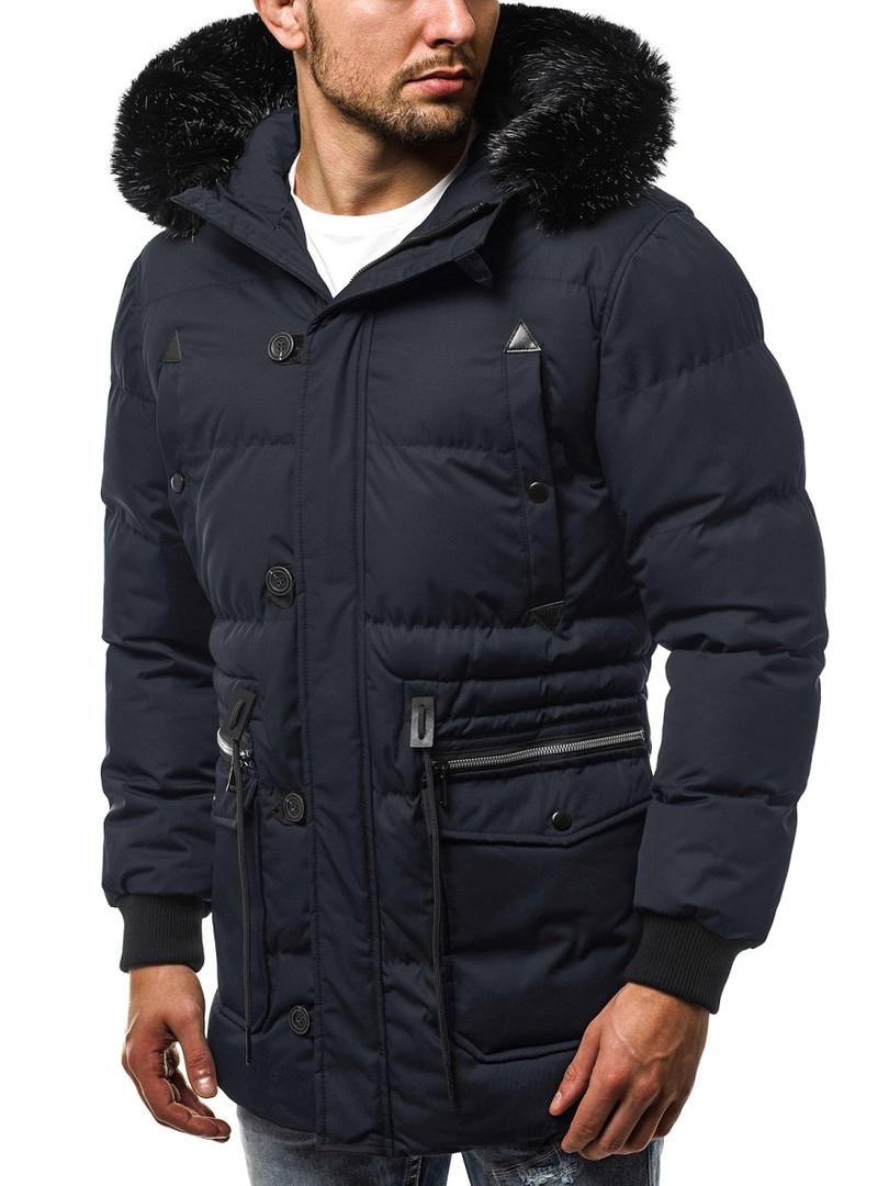 Парка мужская GRIFFIN синяя зимняя. Куртка удлиненная теплая