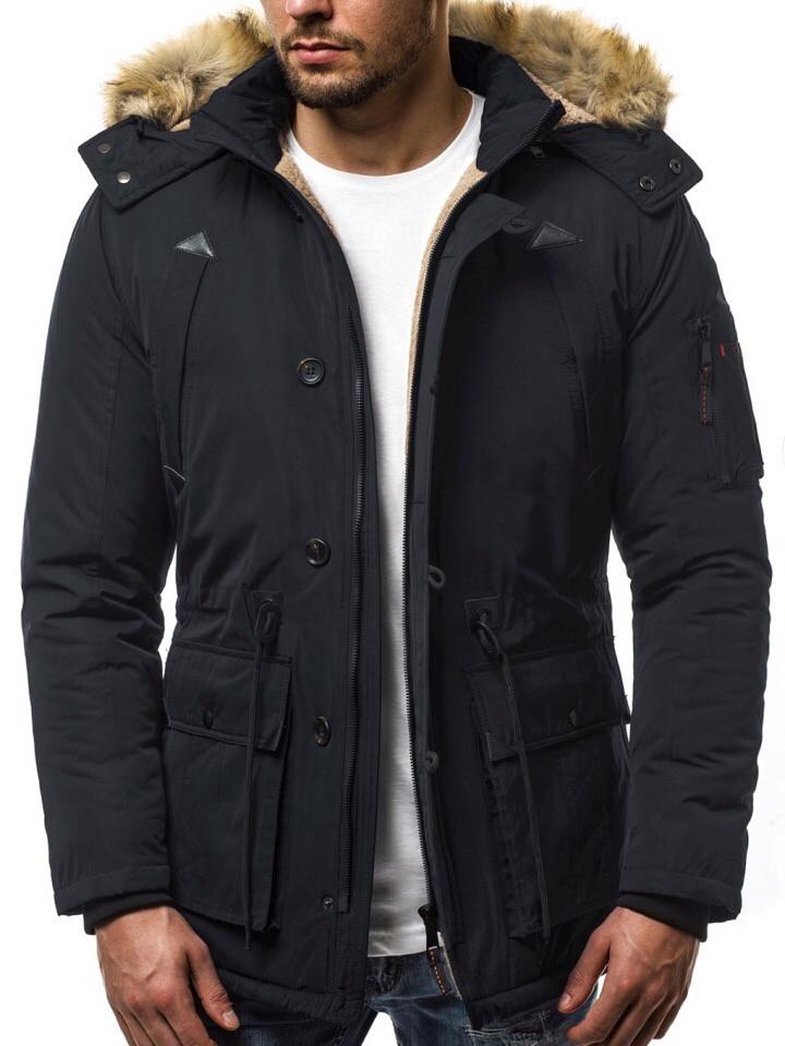 Парка мужская GRAND черная зимняя. Куртка удлиненная теплая. Только XL XXL