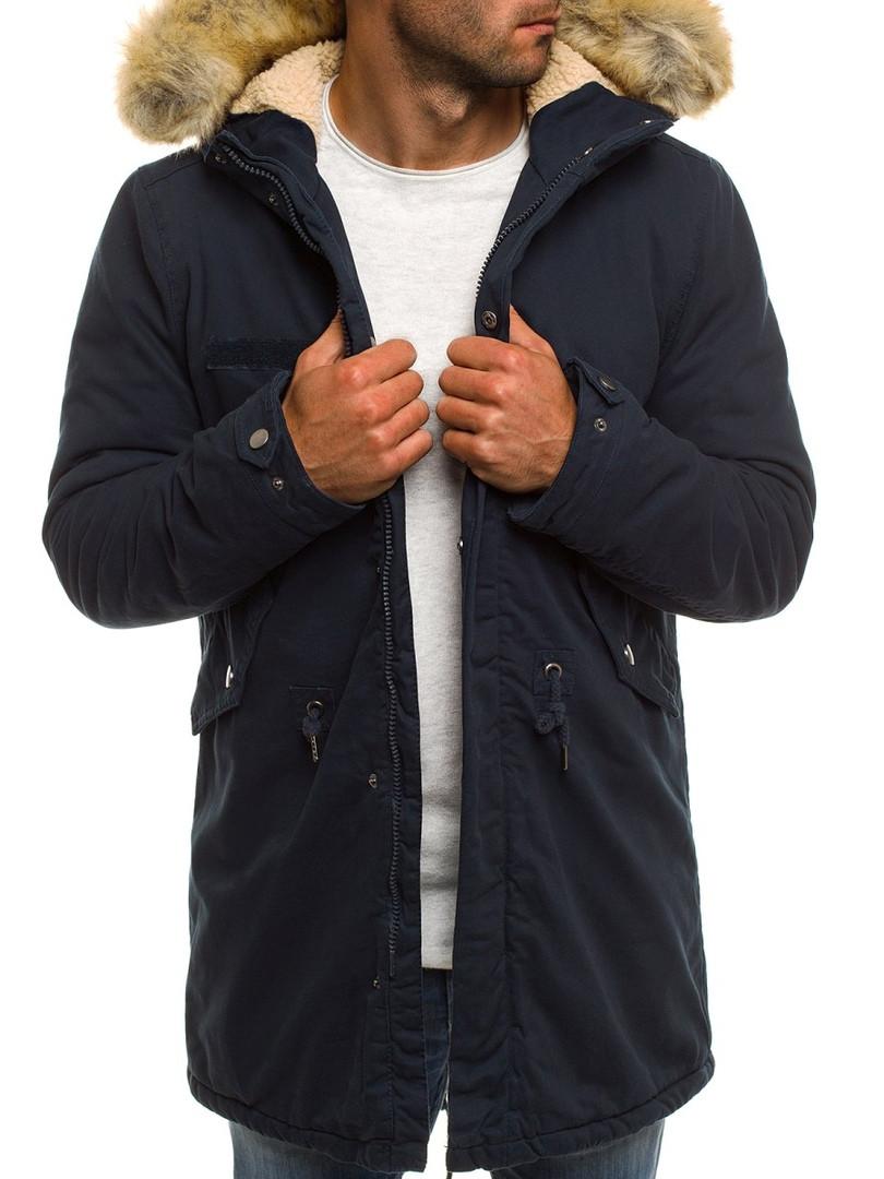 Парка мужская HUNTER зимняя синяя.(Только L XL XXL) Куртка удлиненная теплая