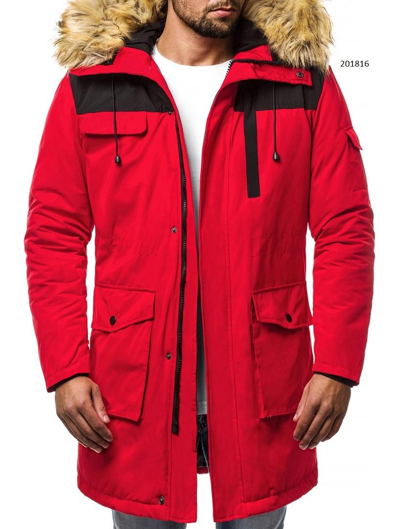 Парка мужская TIGER зимняя красная. Куртка удлиненная теплая