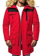 Парка мужская TIGER зимняя красная. Куртка удлиненная теплая, фото 1