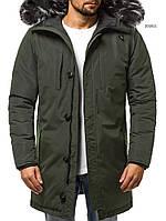 Парка мужская ARTEK зимняя хаки. Куртка удлиненная зеленая