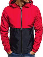 (Размеры ХЛ, ХХЛ) Куртка ветровка мужская весенняя . Стильная мужская ветровка красная