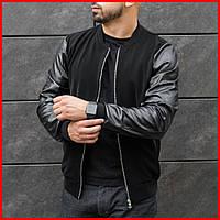 Стильная куртка мужская осенняя.  Мужской бомбер черный