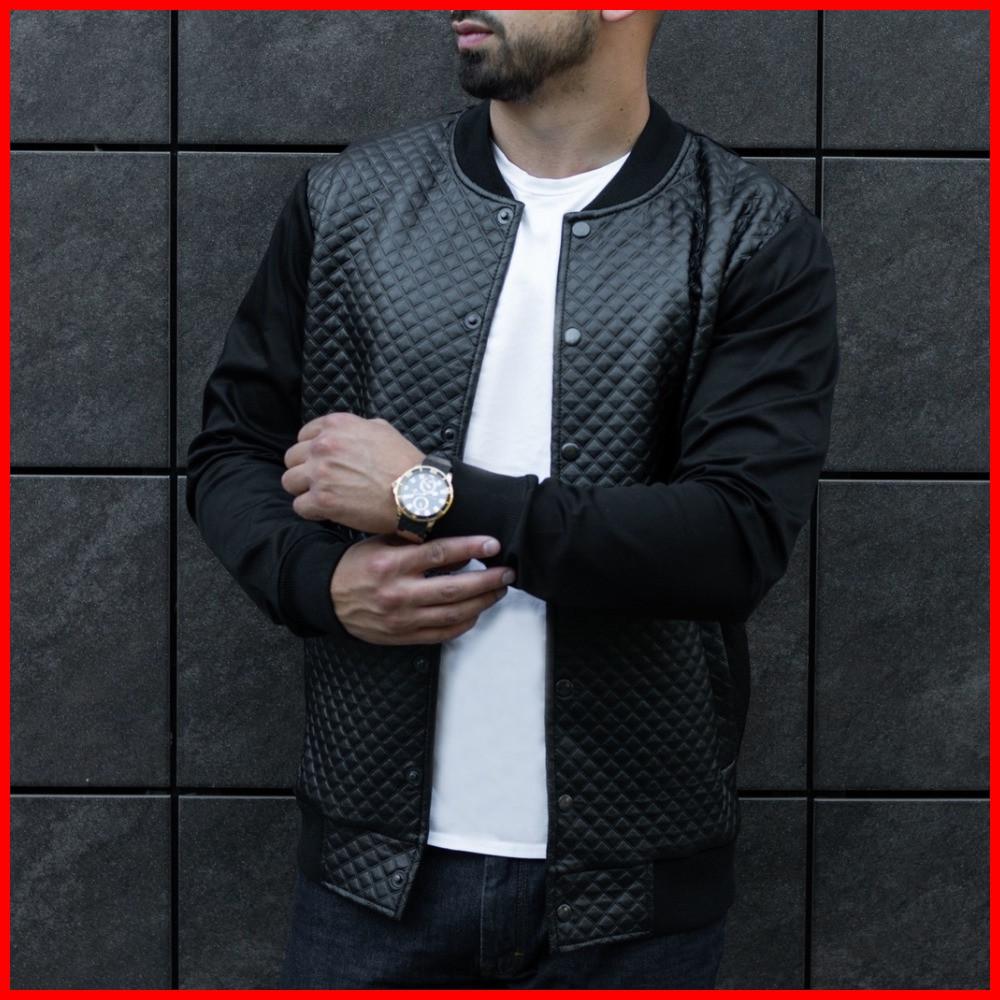 Стильная куртка мужская стеганная осенняя.  Мужской бомбер черный