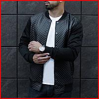 Стильная куртка мужская стеганная осенняя.  Мужской бомбер черный, фото 1