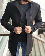 Стильное мужское пальто черное демисезонное. Размеры S M L XL
