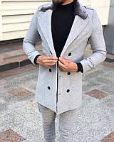 Мужское пальто осень с меховым воротом. Размеры  M, L, XL, XXL