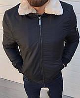 Мужская куртка тёплаячёрная. ( Размеры S, ХL, XXL).