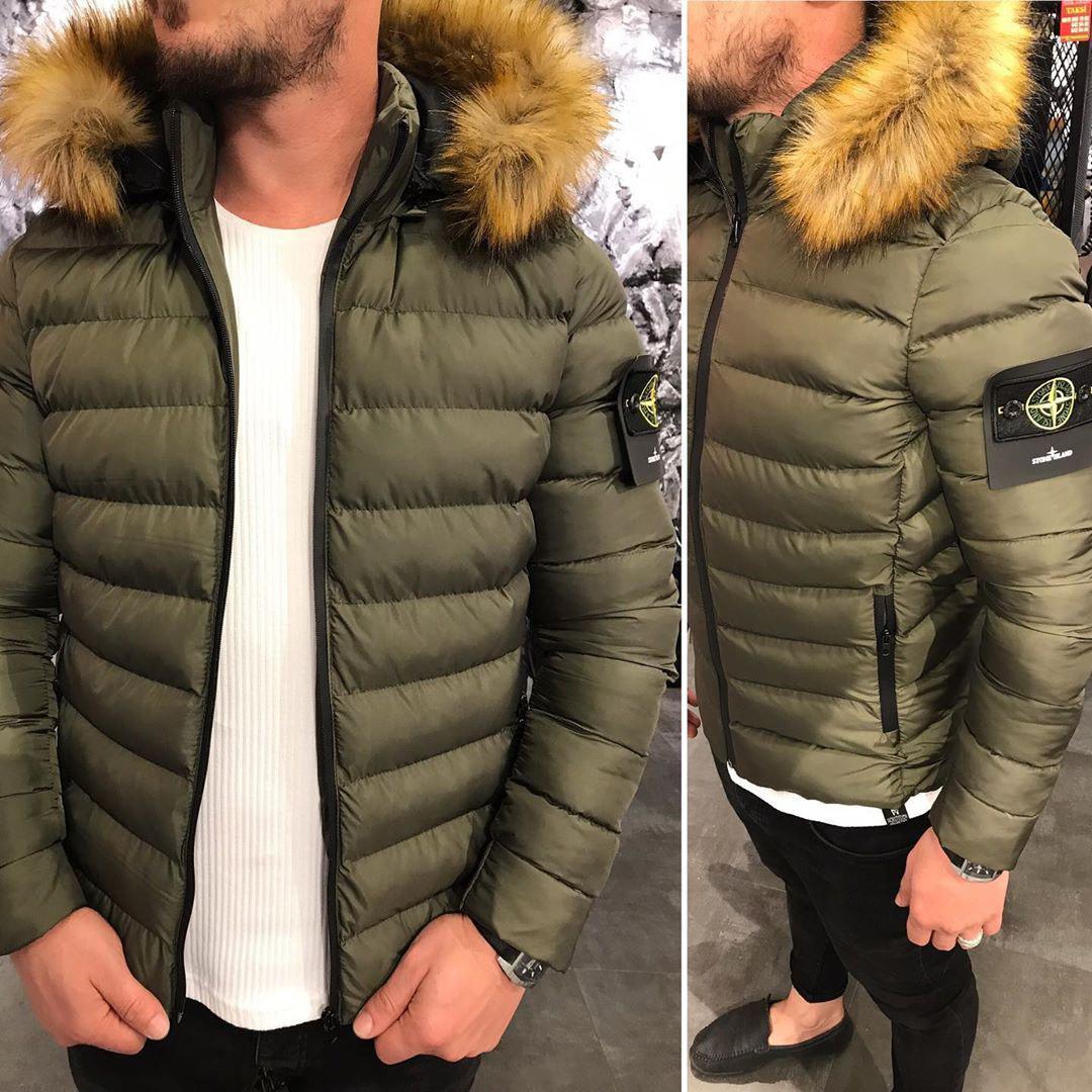 Мужская стёганная куртка зимняя хаки. Куртка теплая с капюшоном. Размеры S