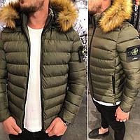 Мужская стёганная куртка зимняя хаки. Куртка теплая с капюшоном. Размеры S, фото 1