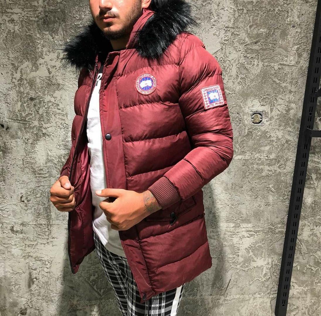 Мужская стёганная куртка удлинённая зимняя бордовая. Куртка теплая с капюшоном. Размеры (S, L, XL, XXL)