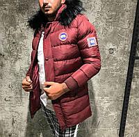 Мужская стёганная куртка удлинённая зимняя бордовая. Куртка теплая с капюшоном. Размеры (S, L, XL, XXL), фото 1
