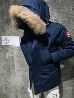 Пуховик мужской. Мужская зимняя парка пуховая с капюшоном, синяя. Размеры (M,L)