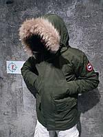 Пуховик чоловічий. Чоловіча зимова парку пухова з капюшоном, хакі. Розміри (S,M,L)