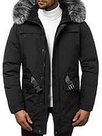 Чоловіча зимова парку з капюшоном, чорна.Розміри (M,L,XL,XXL)