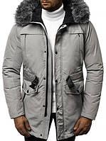 Чоловіча зимова парку з капюшоном, сіра.Розміри (M,L,XL,XXL)
