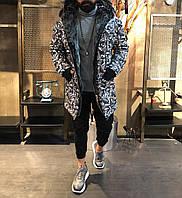 Зимняя мужская парка серая. Тёплая мужская зимняя куртка. Размеры (S,M,L,XL)