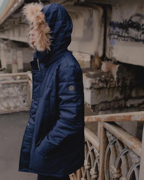 Мужская парка осень-зима, синяя. Тёплая парка с капюшоном. Размеры (S,M,L,XL,XXL)
