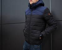 Мужская куртка зимняя чёрная с синей вставкой. Куртка теплая. Размеры (S,M,L,XL), фото 1