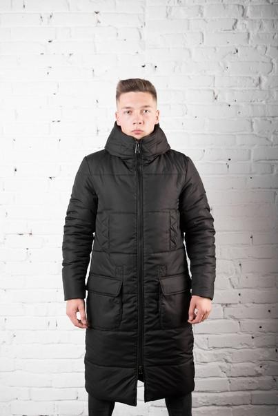 Мужское зимнее пальто, чёрное. Тёппое мужское пальто. Размеры (S,M,L,XL)