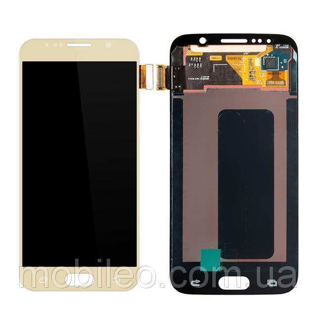 Дисплей (LCD) Samsung GH97-17260C G920 Galaxy S6 Amoled с тачскрином, золотой (сервисный оригинал)