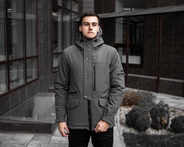 Чоловіча зимова парку, сіра. Розміри (S,M,L,XL)