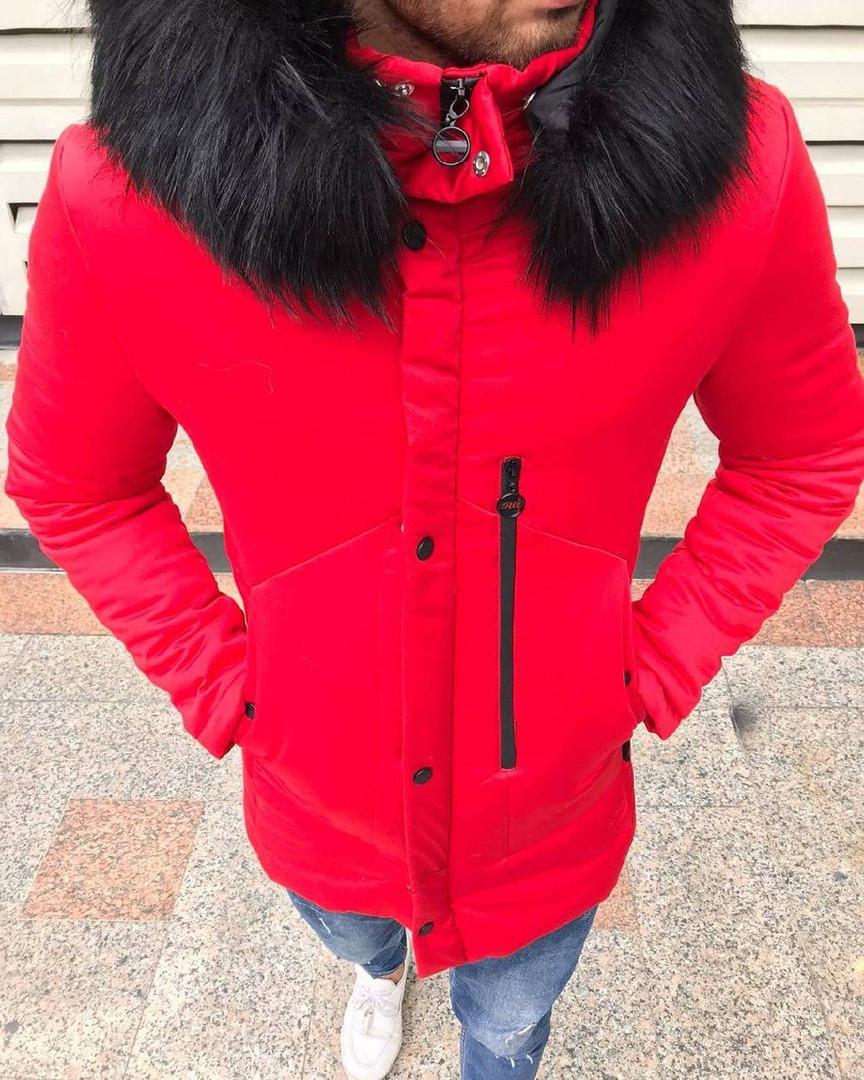 Мужская парка зима, красная. Тёплая парка. Размеры (M,L,XL,XXL)