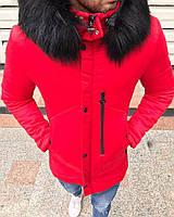 Мужская парка зима, красная. Тёплая парка. Размеры (M,L,XL,XXL), фото 1