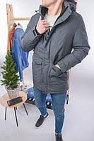 Зимняя мужская парка тёмно-серая. Тёплая парка зима. Размеры (L,XL,XXL,XXXL,XXXXL), фото 1