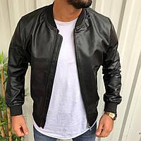 Стильная мужская кожаная куртка черная, фото 1
