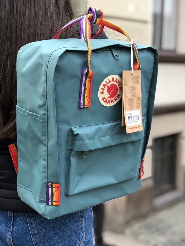 Стильный рюкзак Fjallraven Kanken бирюзовый/ Канкен портфель для школы и на каждый день