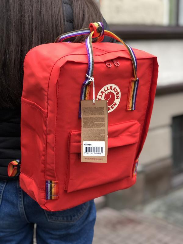 Стильный рюкзак Fjallraven Kanken красный/ Канкен портфель для школы и на каждый день