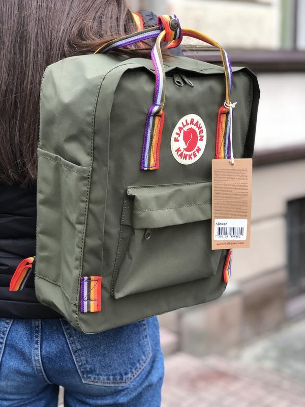 Стильный рюкзак Fjallraven Kanken хаки/ Канкен портфель для школы и на каждый день