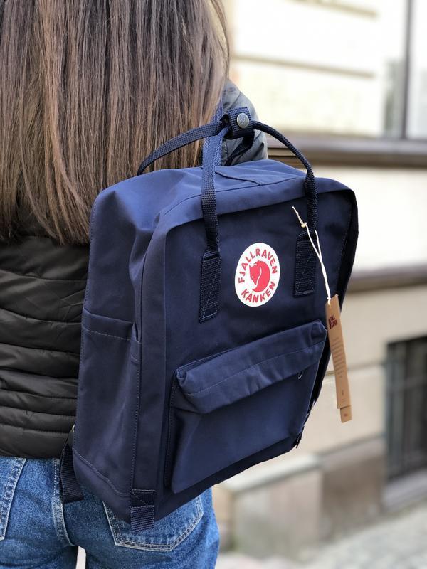 Стильный рюкзак Fjallraven Kanken тёмно-синий/ Канкен портфель для школы и на каждый день