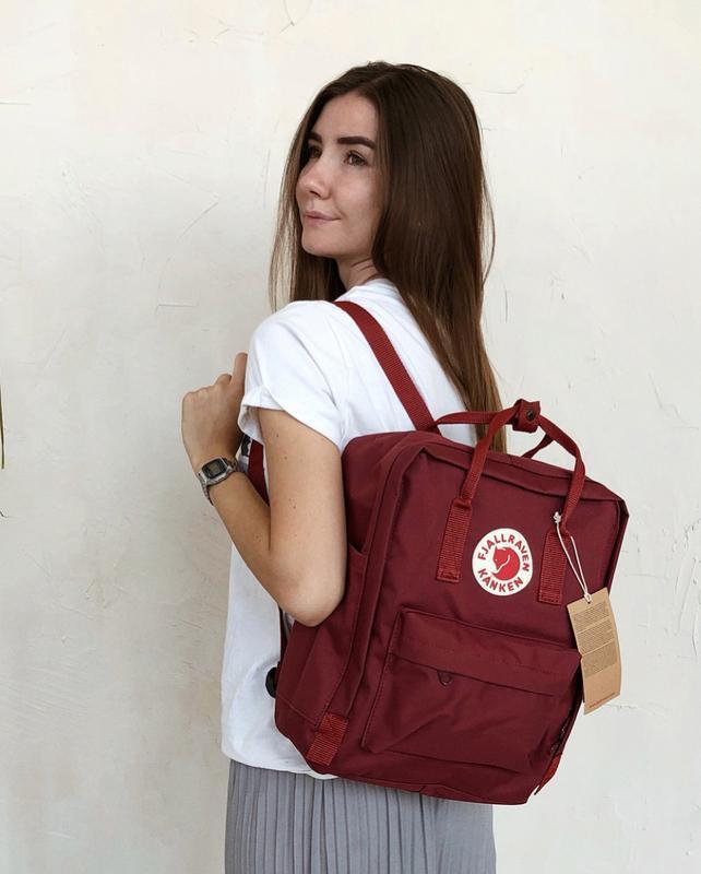 Стильний рюкзак Fjallraven Kanken бордовий/Канкен Канкен портфель для школи і на кожен день