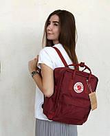 Стильний рюкзак Fjallraven Kanken бордовий/Канкен Канкен портфель для школи і на кожен день, фото 1