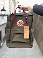 Стильный рюкзак Fjallraven Kanken хаки/ Канкен портфель для школы и на каждый день, фото 1