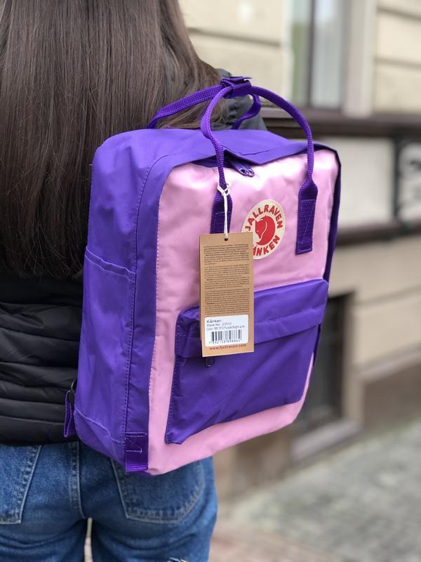 Стильний рюкзак Fjallraven Kanken фіолетовий з рожевим/Канкен Канкен портфель для школи і на кожен день