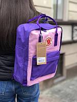 Стильный рюкзак Fjallraven Kanken фиолетовый с розовым/ Канкен портфель для школы и на каждый день, фото 1