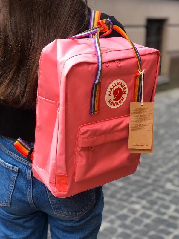Стильный рюкзак Fjallraven Kanken коралловый/ Канкен портфель для школы и на каждый день