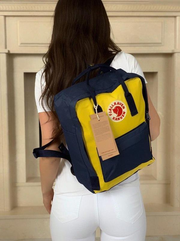 Стильный рюкзак Fjallraven Kanken синий с жёлтым/ Канкен портфель для школы и на каждый день