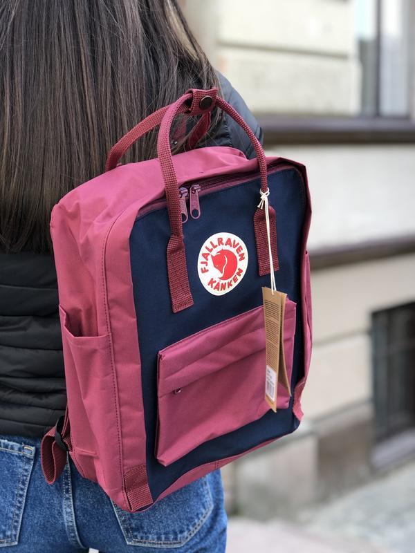 Стильный рюкзак Fjallraven Kanken бордовый с синим/ Канкен портфель для школы и на каждый день