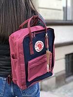 Стильный рюкзак Fjallraven Kanken бордовый с синим/ Канкен портфель для школы и на каждый день, фото 1