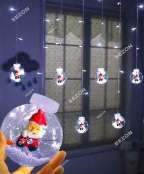 Шарики-роса Дед Мороз 10шт, 3м * 0,8м / переходник, белый