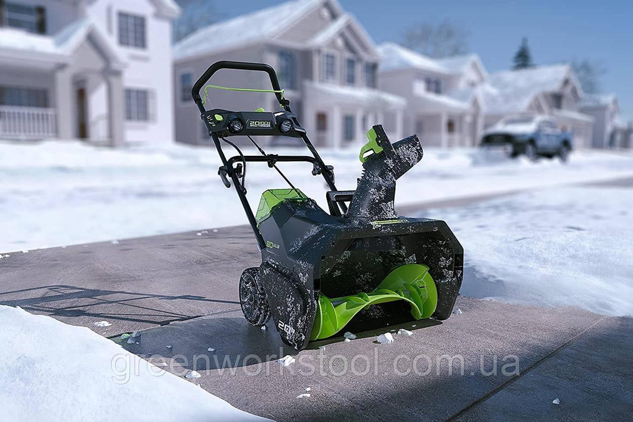 Снегоуборщик аккумуляторный Greenworks GD80SBК4 (2600402) 80V (51 см) бесщеточный с АКБ 4 Ач и зар. ус-вом